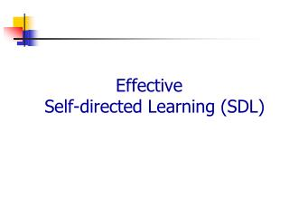 Effective  Self-directed  Learning (SDL)