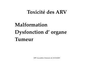 Toxicité des ARV