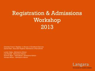 Registration & Admissions Workshop  2013