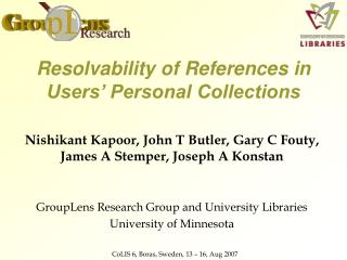Resolvability of References in Users' Personal Collections