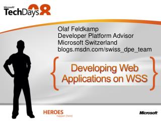 Developing Web Applications on WSS