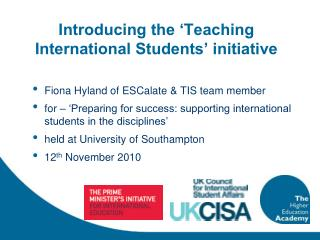 Introducing the 'Teaching International Students' initiative