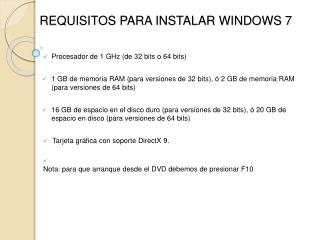 REQUISITOS PARA INSTALAR WINDOWS 7