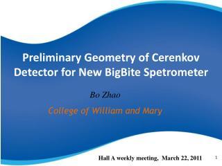Preliminary  Geometry of Cerenkov Detector for New  BigBite Spetrometer