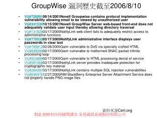 GroupWise  漏洞歷史截至 2006/8/10