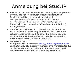 Anmeldung bei Stud.IP