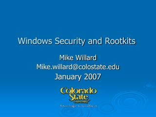 Windows Security and Rootkits