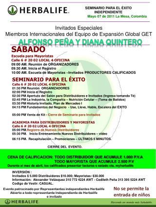 SEMINARIO PARA EL ÉXITO Calle 6 # 20 02 LOCAL 4 OFICINA  01:30 PM Reunión  ORGANIZADORES