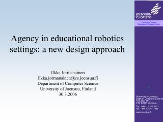 Agency in educational robotics settings: a new design approach