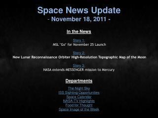 Space News Update  November 18, 2011 -