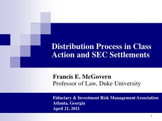 Distribution Process in Class Action and SEC Settlements