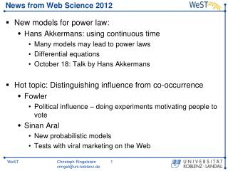 News  from  Web Science 2012