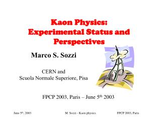 Kaon Physics: Experimental Status and Perspectives