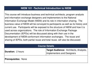 Technical Introduction to NIEM NIEM 101 for DAMA Enterprise Data World 2010