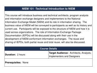 Technical Introduction to NIEM NIEM 101 for DAMA Enterprise Data World 2010
