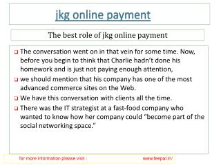 Get Quality transfer Services of jkg online payment