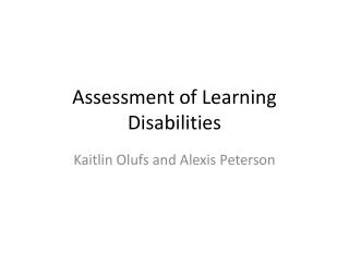 Assessment of Learning Disabilities