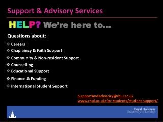 Support & Advisory Services
