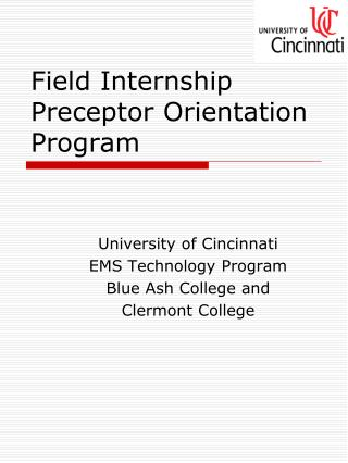 Field Internship Preceptor Orientation Program
