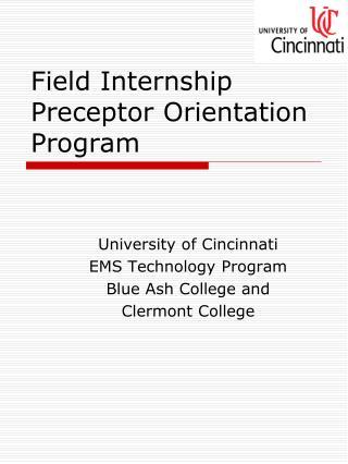 Field Internship Preceptor Orientation Program