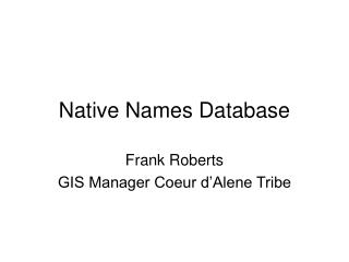 Native Names Database