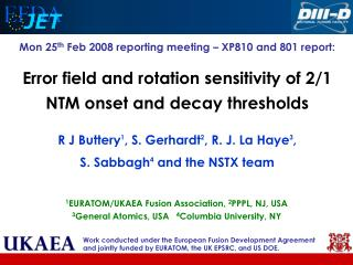 Mon 25 th  Feb 2008 reporting meeting – XP810 and 801 report:
