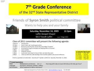 7 th  Grade Conference  of the 32 nd  State Representative District