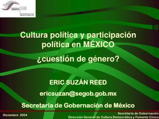 Cultura política y participación política en MÉXICO  ¿cuestión de género?
