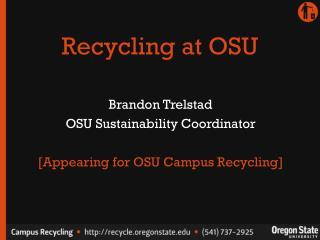 Recycling at OSU