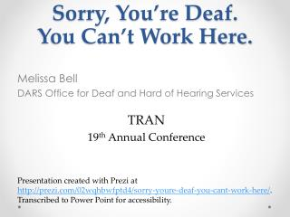 Sorry, You're Deaf. You Can't Work Here.