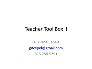 Teacher Tool Box II