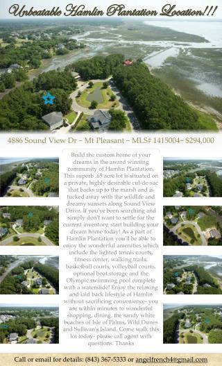 4886 Sound View  Dr ~  Mt Pleasant ~  MLS#  1415004~ $294,000