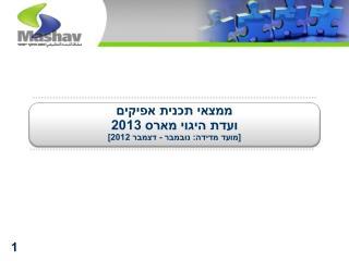 ממצאי תכנית אפיקים  ועדת היגוי מארס 2013  [מועד מדידה: נובמבר - דצמבר 2012]