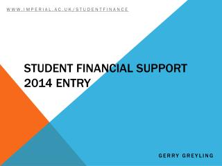 Student Financial Support 2014 entry