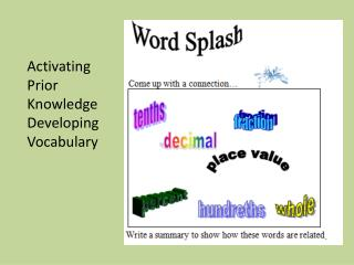Activating Prior  Knowledge Developing  Vocabulary