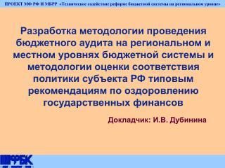 Докладчик: И.В. Дубинина