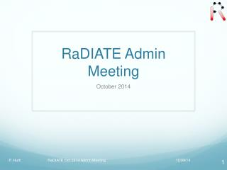 RaDIATE Admin Meeting