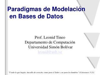 Paradigmas de Modelación en Bases de Datos