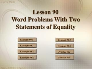 Lesson 90 Word Problems With Two Statements of Equality
