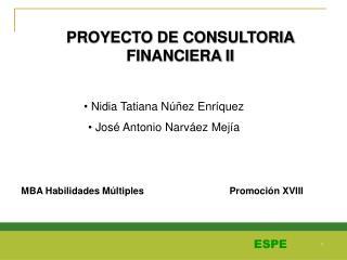 PROYECTO DE CONSULTORIA FINANCIERA II