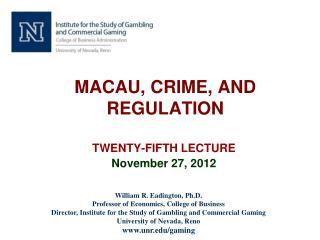 MACAU, CRIME, AND REGULATION