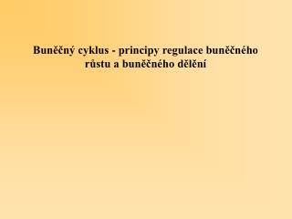 Buněčný cyklus - principy regulace buněčného růstu a buněčného dělění