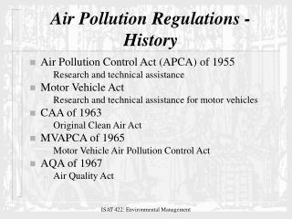 Air Pollution Regulations - History