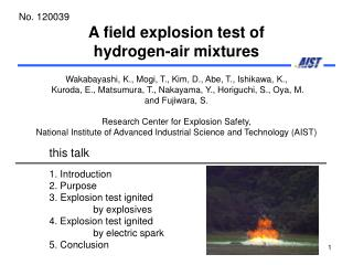 A field explosion test of  hydrogen-air mixtures