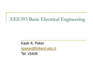 EEE393 Basic Electrical Engineering