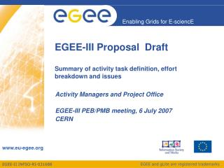 EGEE-III Proposal  Draft Summary of activity task definition, effort breakdown and issues