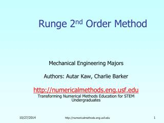Runge 2 nd  Order Method