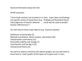 General Information about the Test 50 MC questions
