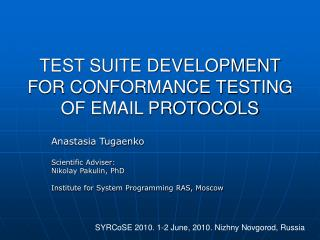 TEST SUITE DEVELOPMENT FOR CONFORMANCE TESTING OF EMAIL PROTOCOLS