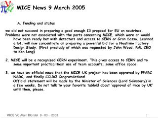 MICE News 9 March 2005